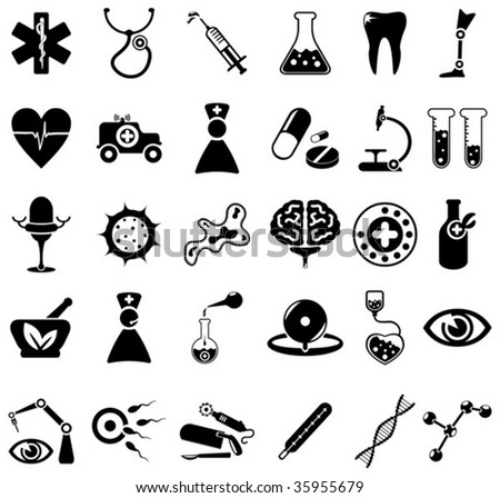 30 black and white medical icons - stock vector