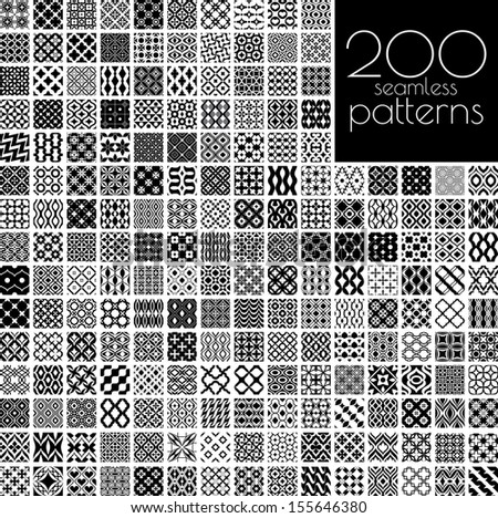 200 black and white ornament patterns vector illustration(each pattern in swatch panel) - stock vector