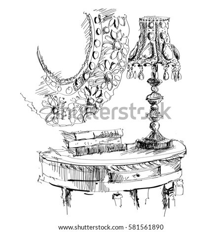 Black And White Pencil Sketch Illustration Of A Very Beautiful Night Lamp Standing On The Round