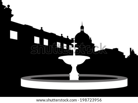 Black And White Silhouette Of A Fountain In The Street Vector
