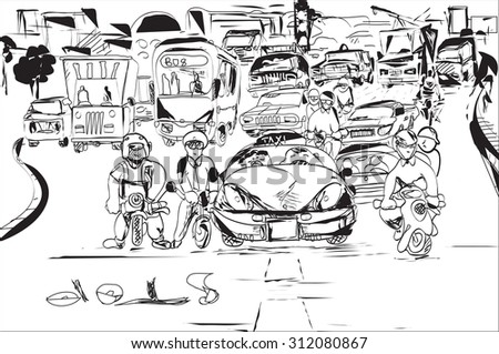 Black and white sketch of the traffic jam, city silhouette in the background