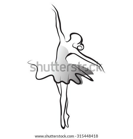 black and white vector illustration of classical ballet, figure ballet dancer - stock vector