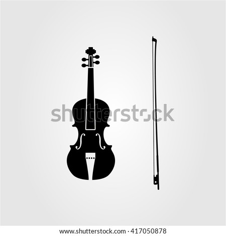 Black and white violin. Classical musical instrument. Bow. Violin silhouette. Vector image.