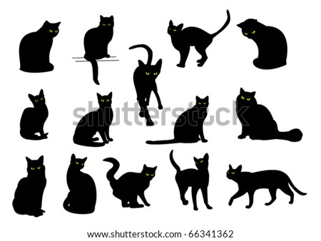 14 black cats with yellow eyes - stock vector