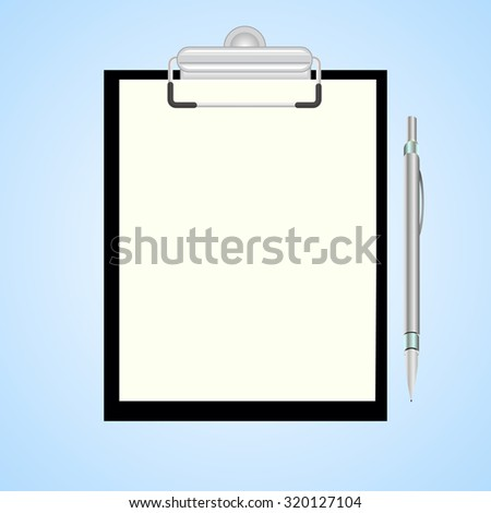 Black clipboard with blank sheets of paper and pen isolated on blue Vector illustration. - stock vector