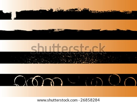 4 Black grunge artistic strips 1 (Transparent vector so it can be overlaid onto other graphics and images) - stock vector