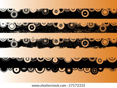 4 Black grunge artistic strips 2 (Transparent vectors so it can be overlaid onto other graphics and images) - stock vector