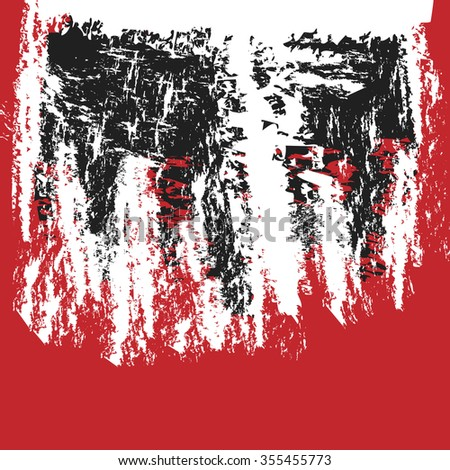 black grunge paint splattered brush stroke red background , vector design element
