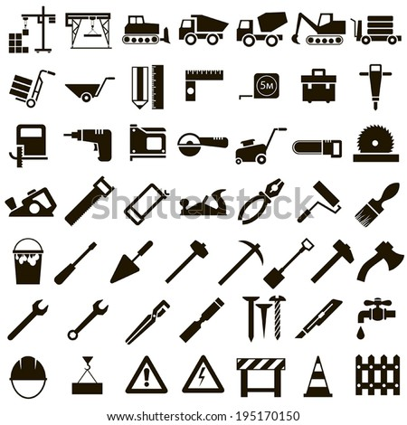 50 black icons vector construction equipment, signs and Instrument on white background - stock vector