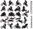 20 black images motorcyclists on a white background - stock vector