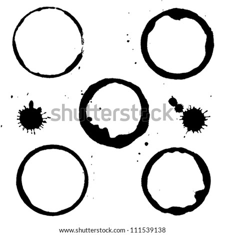 7 Black Stains, Isolated On White Background, Vector Illustration