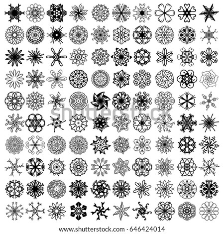 100 black symmetrical vector ornaments over white background