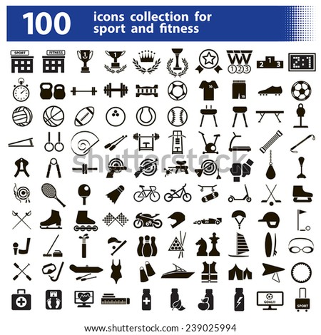 100 black vector icons sports and fitness with an inscription on a white background - stock vector
