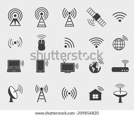 Black wireless icons. Set  icons for wifi control access and radio communication. - stock vector
