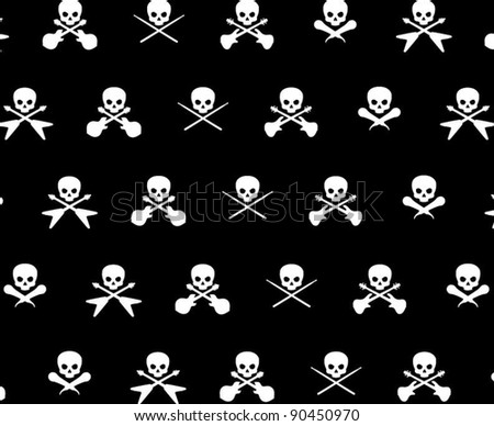 Black with White Rock Musician Skull and Cross Bones Pattern Background Fabric or Wrapping Paper Design - stock vector