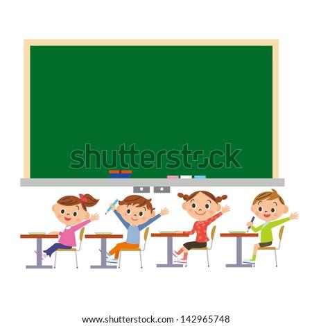 blackboard and student - stock vector