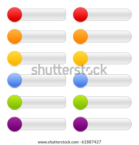 12 blank colored button web 2.0 navigation panels with shadow on white background - stock vector