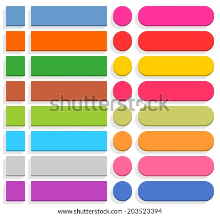 32 blank icon in flat style. 3D button square, rectangle, circle shapes with gray shadow on white background. Blue, red, yellow, green, pink, orange, brown, violet colors. Vector illustration in 8 eps - stock vector
