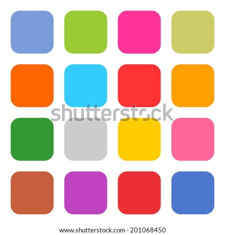 16 blank icon rounded square web button on white background. Simple flat, solid, plain style. Blue, red, yellow, gray, green, pink, orange, brown, violet shapes. This vector illustration save in 8 eps