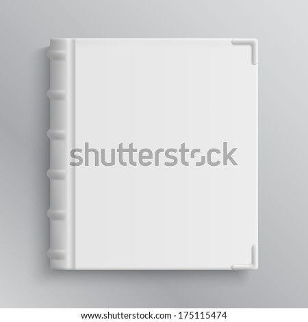 Blank of old book's cover vector illustration. Isolated object - stock vector
