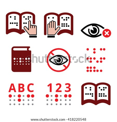 Blind people, Braille writing system icon set  - stock vector