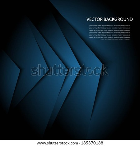 Blue  abstract background with realistic shadows.  - stock vector