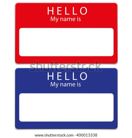 Blue and red  blank name tags  isolated on white background - stock vector