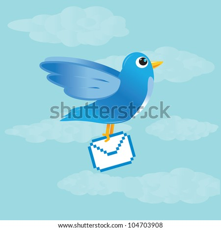 Blue bird carrying the message - stock vector