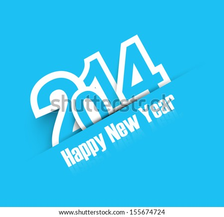 2014 blue colorful celebration new year design vector - stock vector