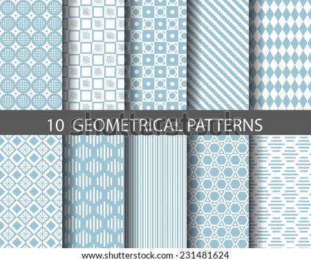 10 blue geometrical seamless patterns, Pattern Swatches, vector, Endless texture can be used for wallpaper, pattern fills, web page,background,surface - stock vector