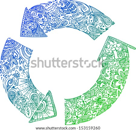 3 blue-green recycle arrows. Sketched doodle illustration. - stock vector
