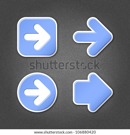 4 blue sticker arrow sign web icon. Smooth internet button with drop shadow on gray background with noise effect. This vector illustration clip-art design element saved in 10 eps