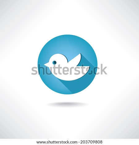 Blue twitter bird social media web or internet button. Bird icon. Twitter icon. - stock vector