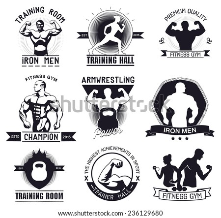 Bodybuilding and fitness gym logos and emblems - stock vector