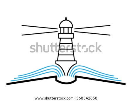 Book, discovery, lighthouse, line, flat. - stock vector