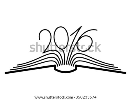 2016 book line flat education concept  - stock vector