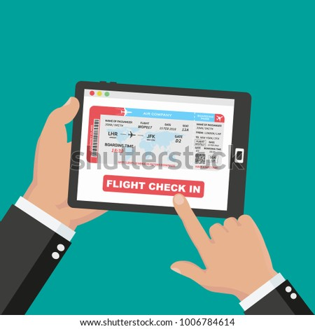Booking aircraft passage online concept design. Flat vector illustration of hands holding a tablet and doing flight check in