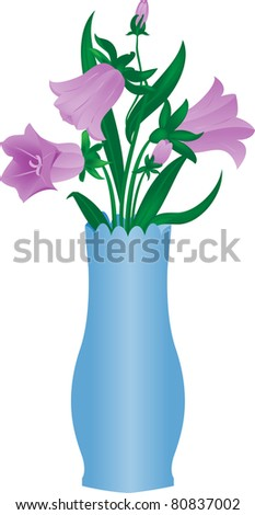 bouquet from campanula in glass vase