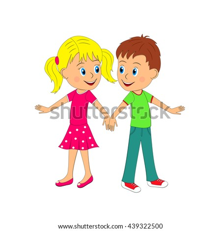 boy and girl dancing, illustration, vector
