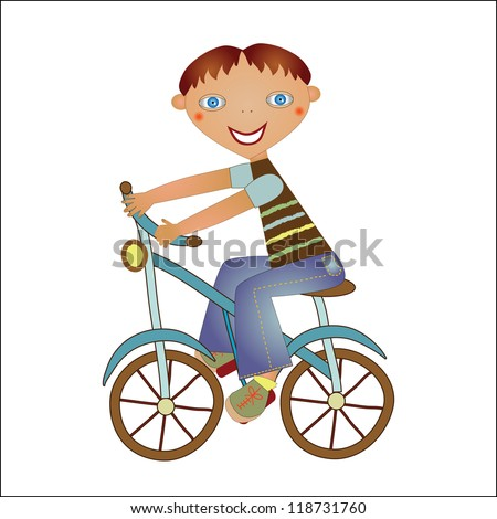 boy on a bike - stock vector