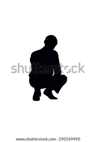 boy's silhouette - stock vector