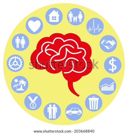 Brain and mind. Iconographic. - stock vector