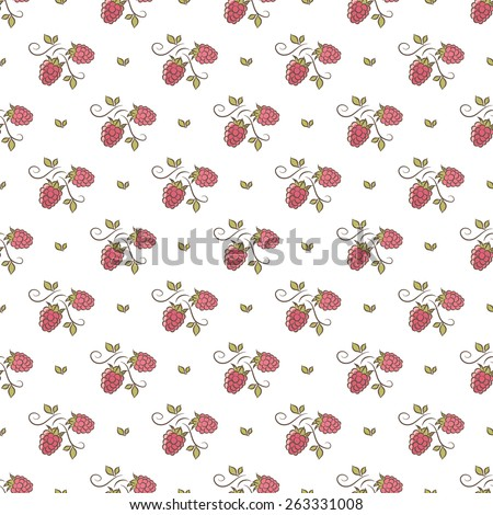 branches of raspberry pattern - stock vector