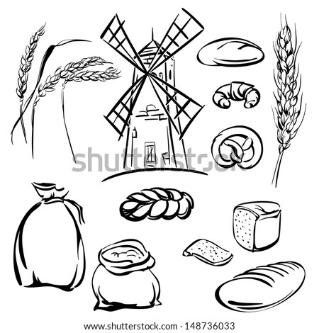 bread  icons sketch collection  cartoon vector  illustration