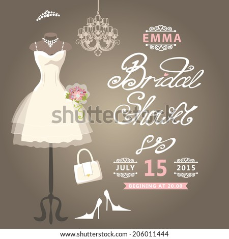 Bridal shower card.The composition of wedding dresses ,Bridal veil, bouquet,handbags and high heel shoes.Cute wedding invitation.Fashion vector Illustration - stock vector