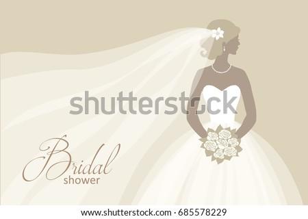Bride Wedding Dress Holding Bouquet Vector Stock Vector (2018 ...