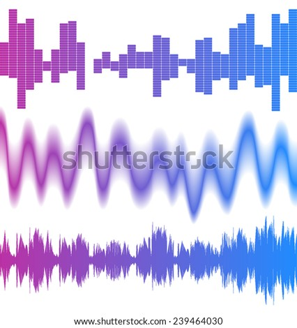 3 bright equalizers over white background - stock vector