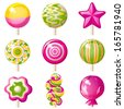 9 bright lollipops icons over white background - stock vector