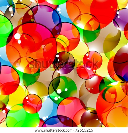 Bright multi-coloured spheres. Greetings background. - stock vector