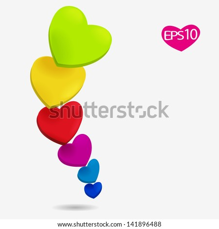 bright vector background with colorful hearts - stock vector